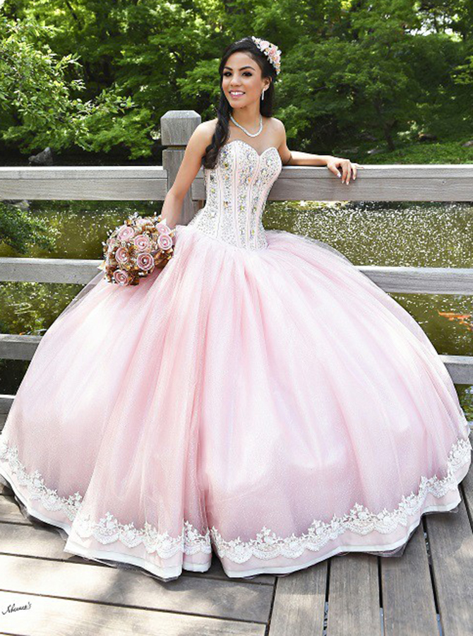 Ball Gown Sweetheart Pearl Pink Tulle Beaded Quiceanera Dress with Appliques фото