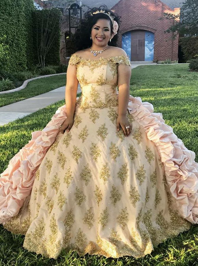 Ball Gown Off-the-Shoulder Champagne Tiered Satin Quinceanera Dress with Appliques