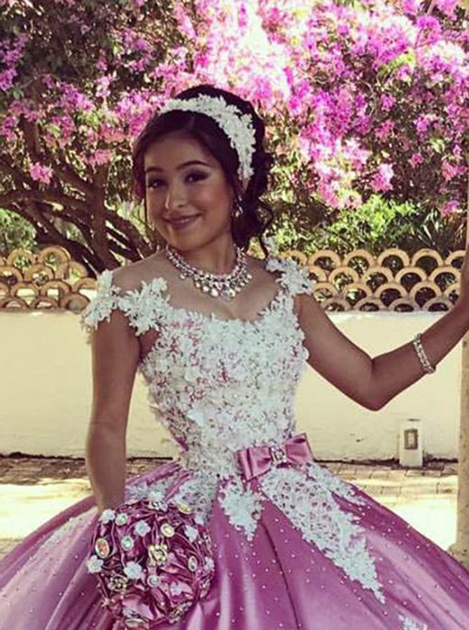 Ball Gown Off-the-Shoulder Rose Pink Satin Quinceanera Dress with Appliques