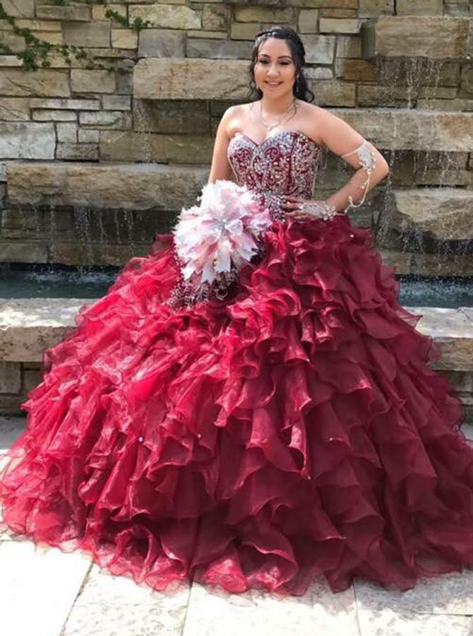 Ball Gown Sweetheart Tiered Burgundy Organza Beaded Quinceanera Dress фото