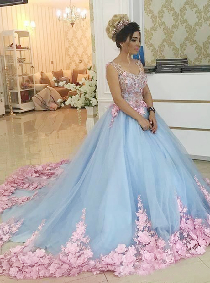 Ball Gown Scoop Blue Tulle Quiceanera Dress with Beading Appliques фото