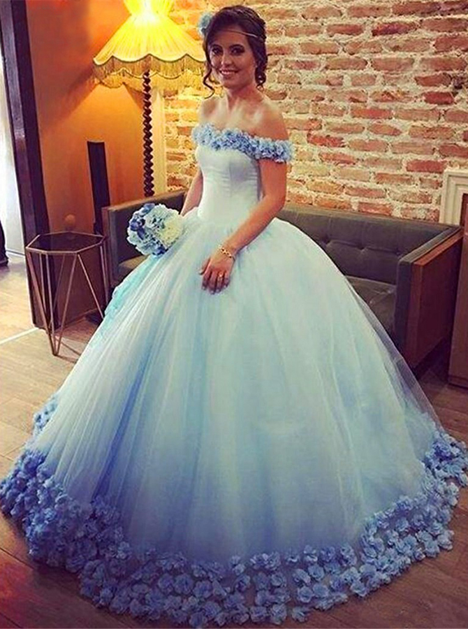 Ball Gown Off-the-Shoulder Floor-Length Ombre Blue Quinceanera Dress