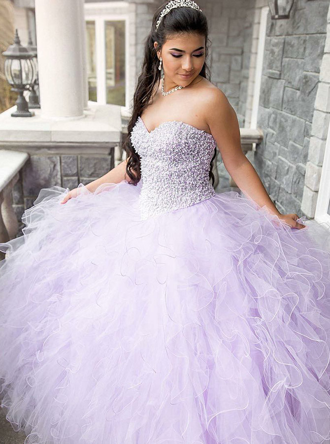 Ball Gown Sweetheart Lilac Tulle Quinceanera Dress with Beading фото