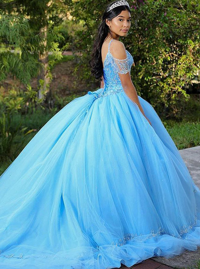 Ball Gown Cold Shoulder Blue Tulle Quinceanera Dress with Beading фото