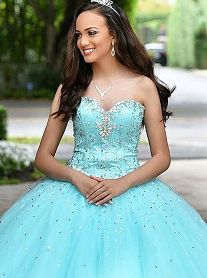 Ball Gown Sweetheart Turquoise Tulle Quinceanera Dress with Beading фото