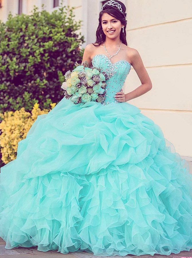 A-Line Sweetheart Mint Green Tulle Quinceanera Dress with Beading фото