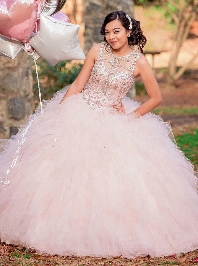 Ball Gown Round Neck Pink Tulle Quinceanera Dress with Beading фото