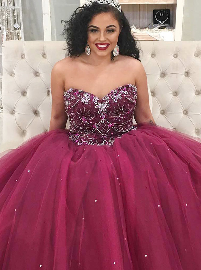 Ball Gown Sweetheart Wine Tulle Quinceanera Dress with Beading, Wine red