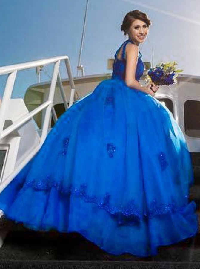 Ball Gown Jewel Blue Quinceanera Dress with Appliques Beading