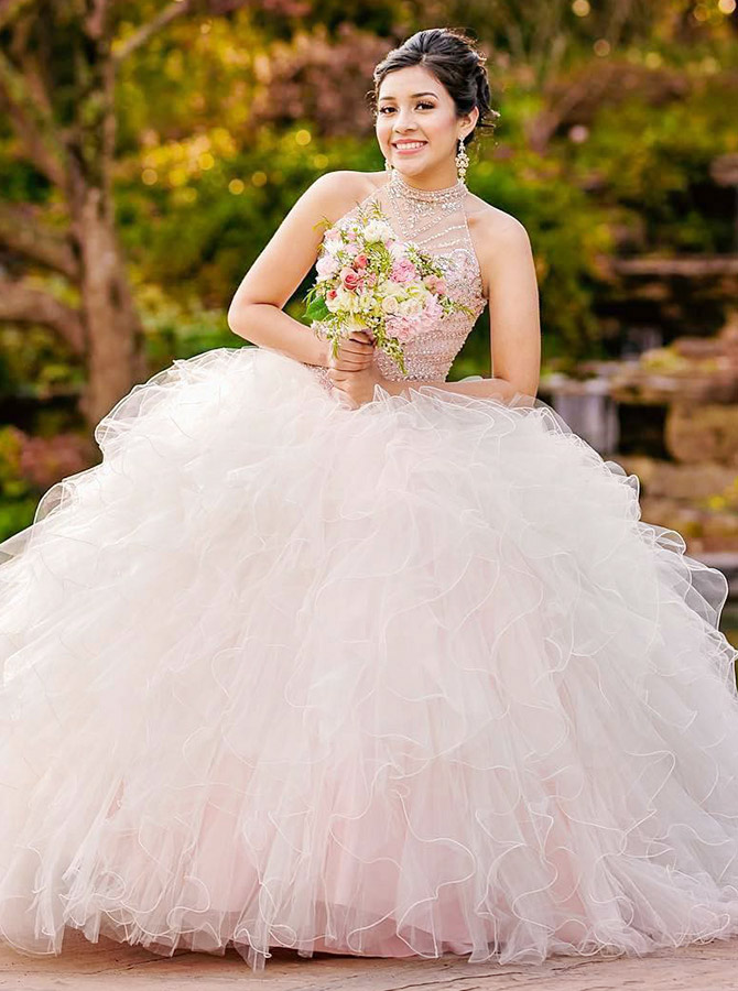 Simple-dress / Ball Gown Jewel Open Back Pearl Pink  Quinceanera Dress with Beading