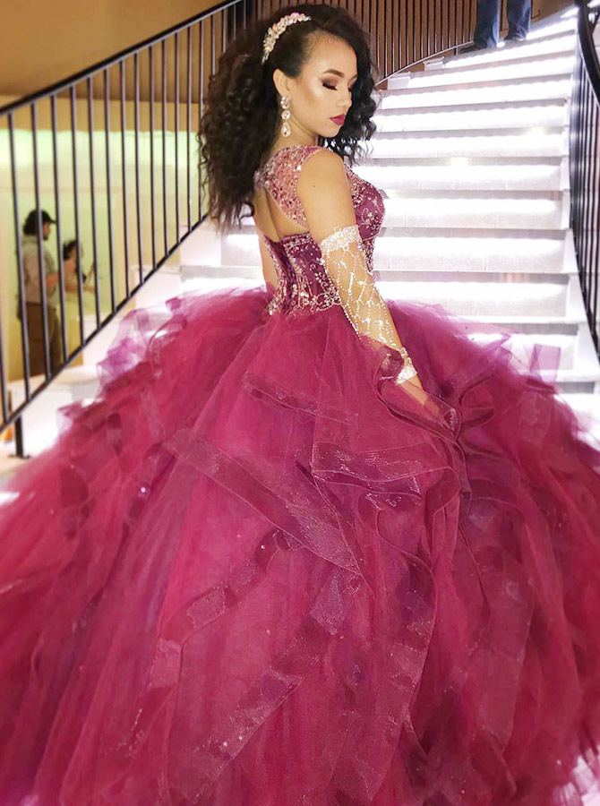 Ball Gown Round Neck Open Back Wine Organza Quinceanera Dress with Beading фото