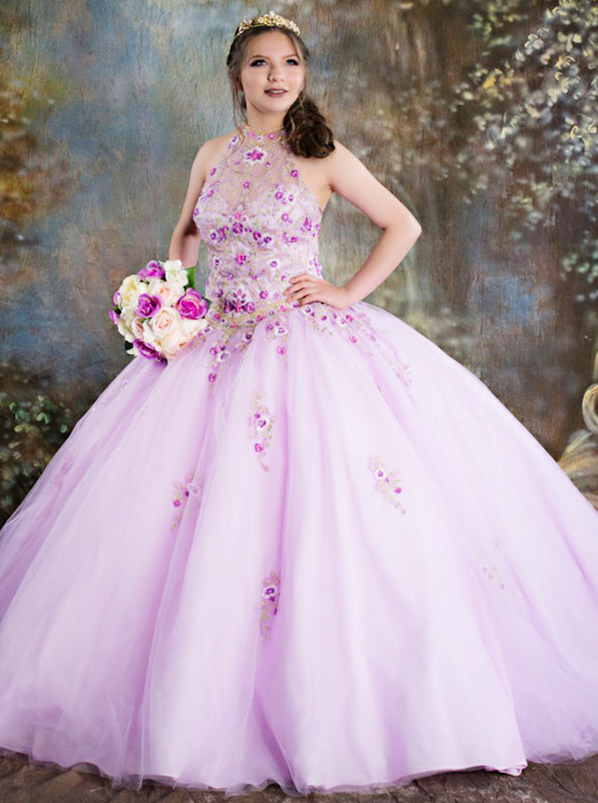 Ball Gown Jewel Pink Tulle Quinceanera Dress with Appliques фото