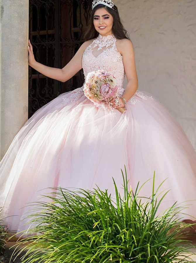 Ball Gown High Neck Pink Tulle Quinceanera Dress with Appliques фото
