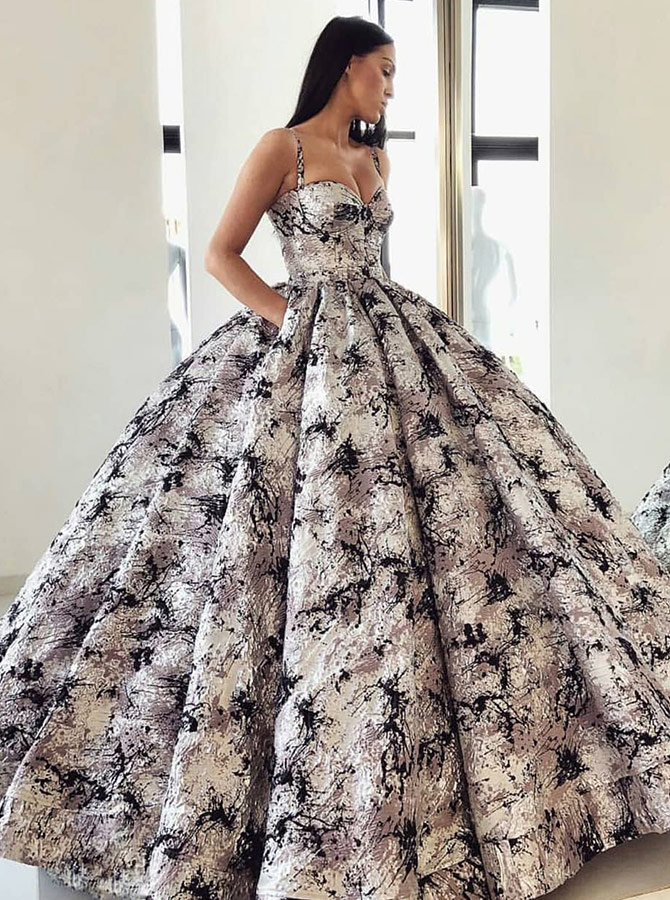 Ball Gown Spaghetti Straps Floral Grey Satin Quinceanera Dress with Pockets