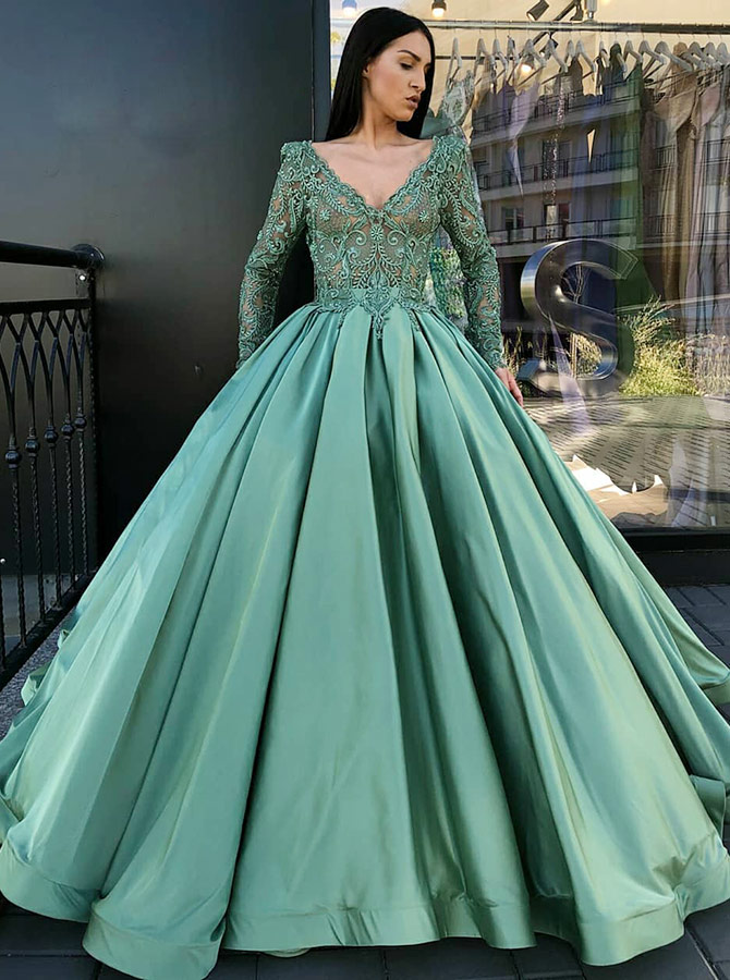 Ball Gown V-Neck Pleated Green Satin Quinceanera Dress with Lace Sleeves фото