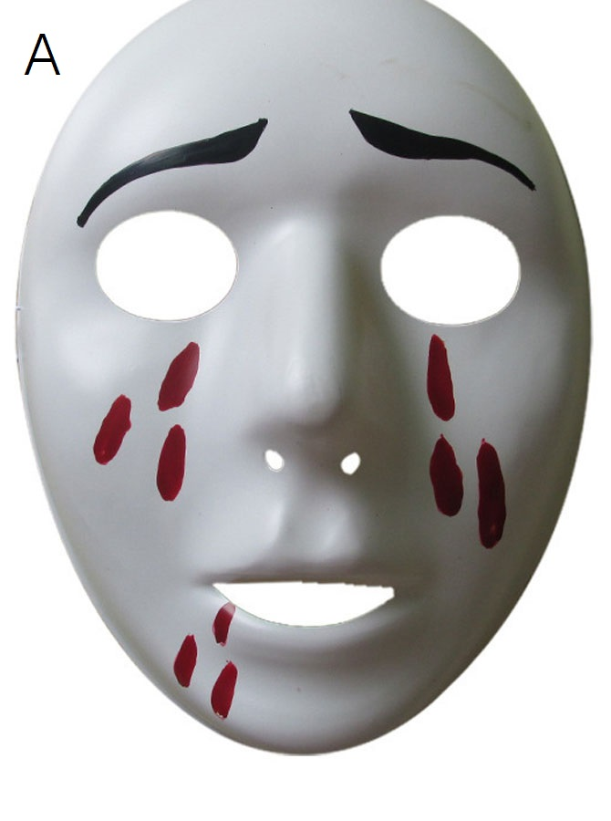 Terror White Cat Face Halloween Mask Party Prop with Blood фото