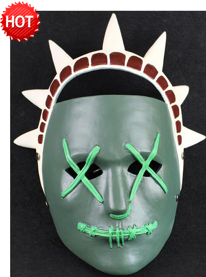 The Purge 3 Election Year Anarchy Lady Liberty Halloween Clown Mask, Dark green