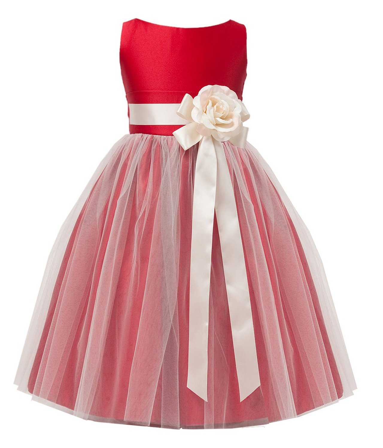 Sweet Kids Little Girls' Vintage Style Satin and Tulle Flower Girl Pageant Dress FGD-81303 фото