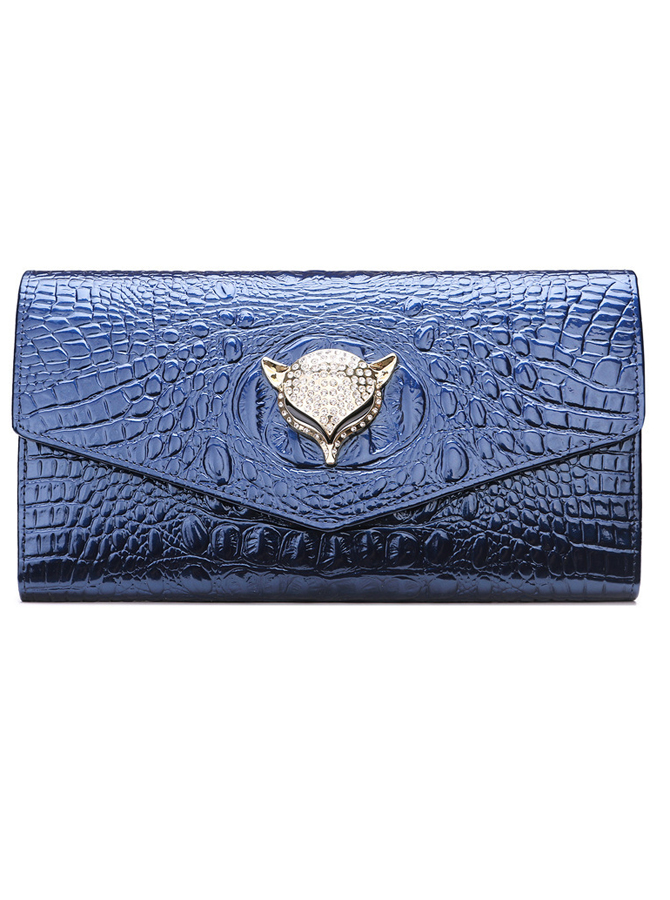 Blue Leather Solid Chain Clutch Purse thumbnail