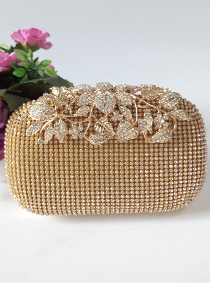 Gold Closure Beaded Flower Box Clutch thumbnail