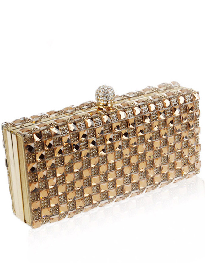 Silver Beaded Closure Crystal Box Clutch
