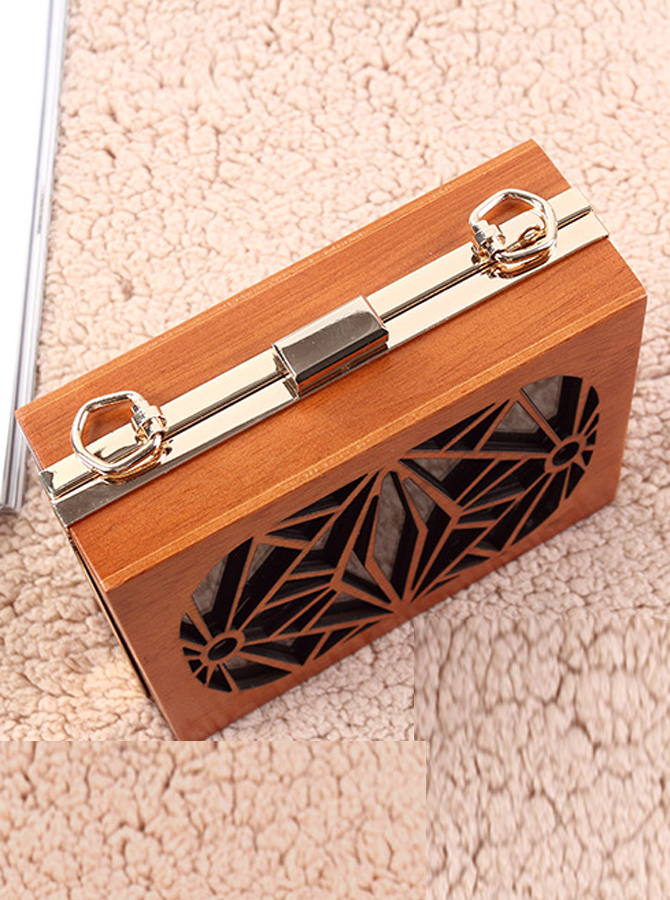 Brown Closure Wood Hollw-Out Box Clutch thumbnail