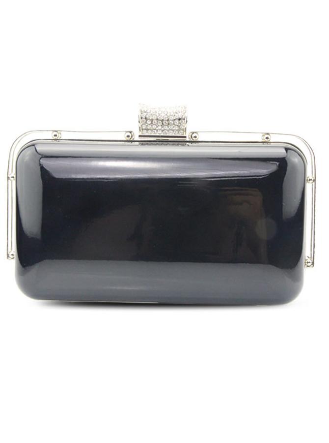 Black Beaded Closure Solid Box Clutch Bag thumbnail