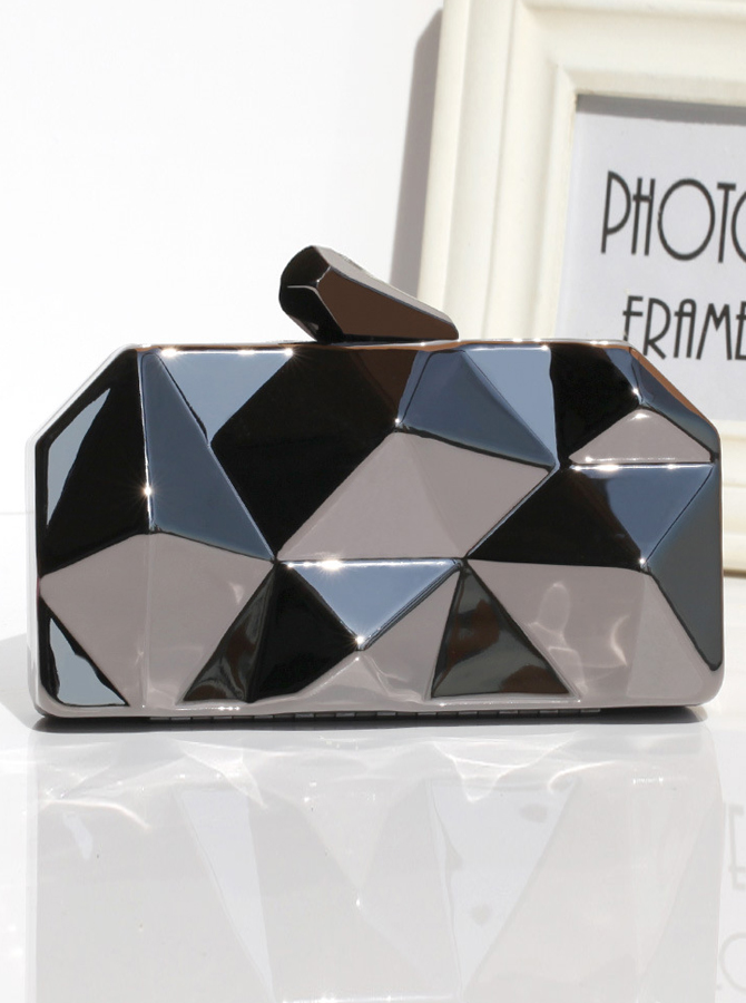 Black Geometry Pattern Box Chian Clutch thumbnail