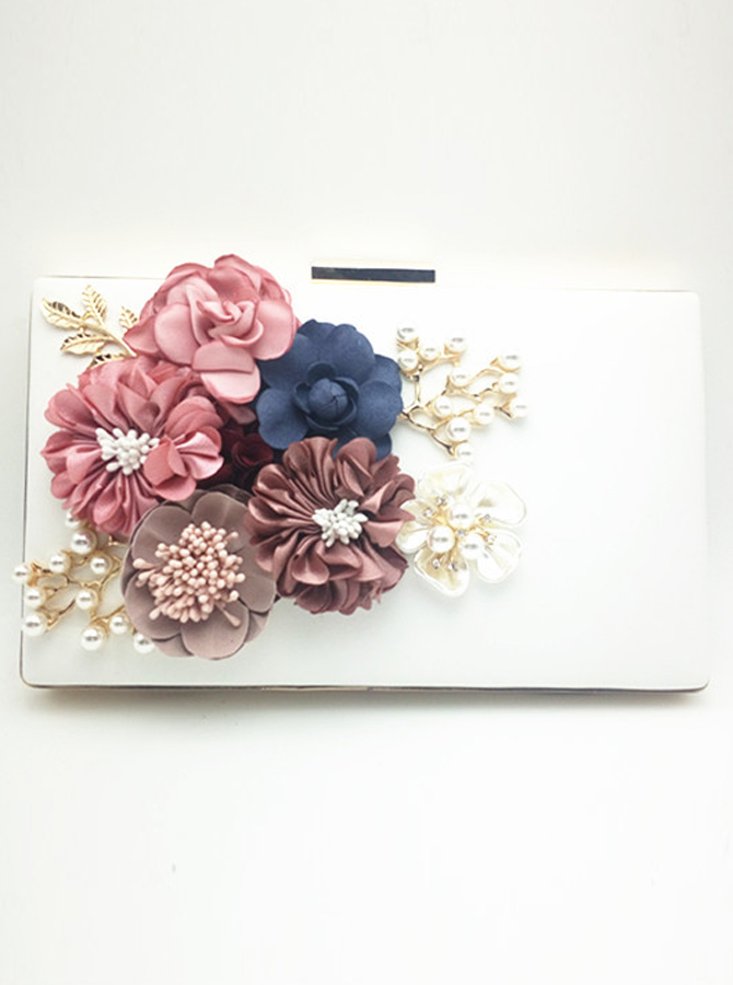White Closure Clutch with Appliques Pearl thumbnail