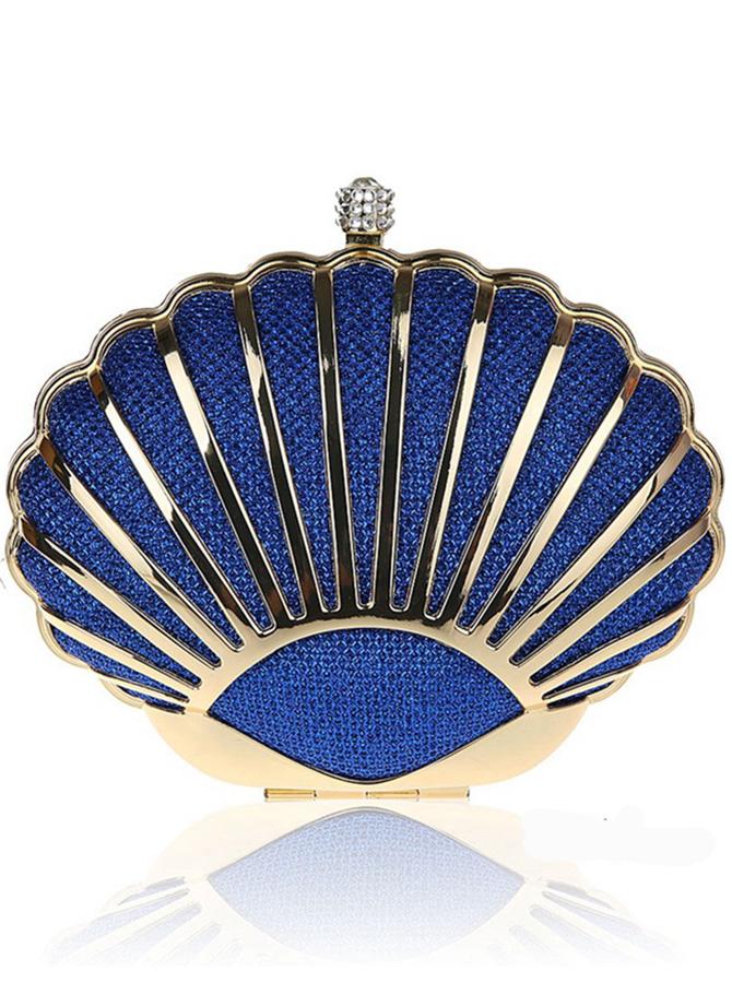 Chain Strap Shell Shape Royal Blue Clutch Bag thumbnail