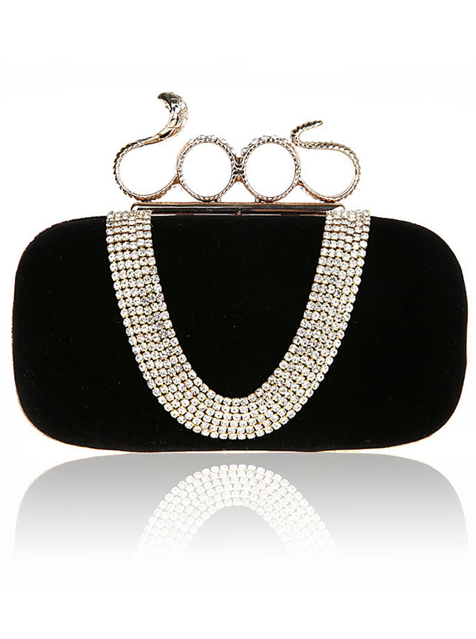 Chain Strap Black Clutch Bag with Beading