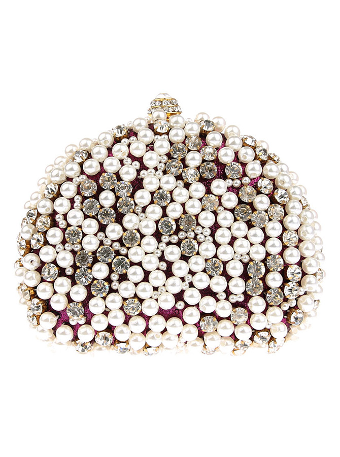 Detachable Strap Purple Clutch Bag with Pearls thumbnail