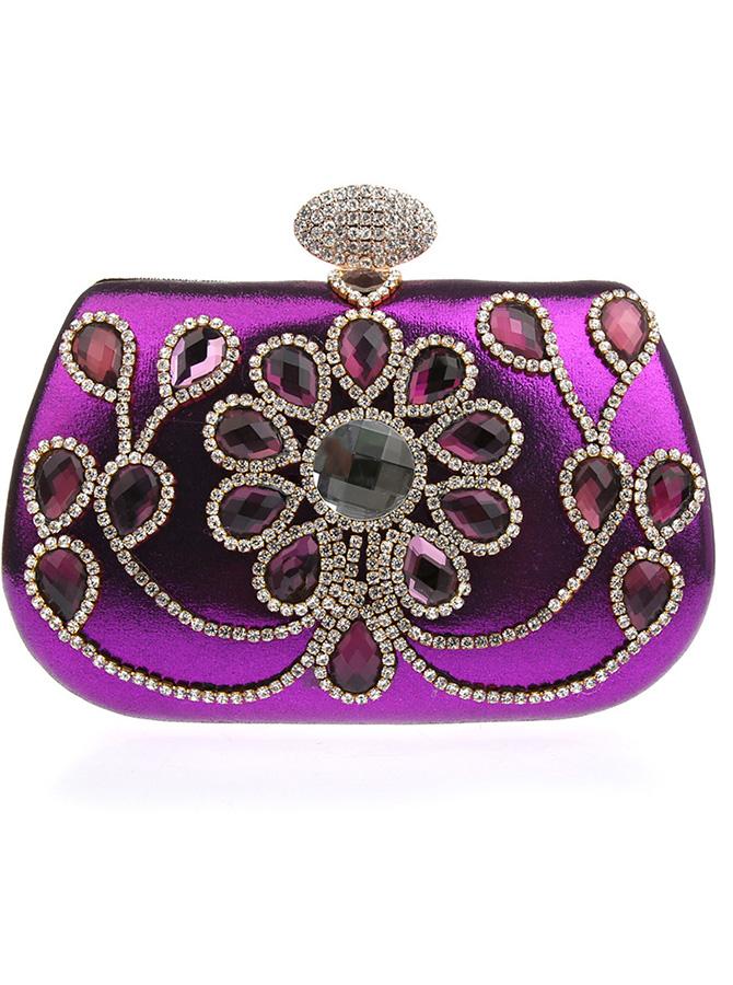 Beaded Purple Clutch Bag with Rhinestone thumbnail