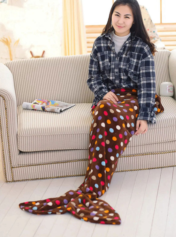 Soft Dot Brown Sofa Leisure Blanket Mermaid Tail Blanket thumbnail