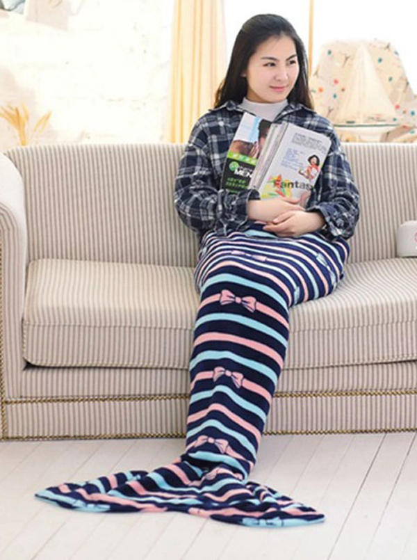 Navy Blue Strips Bow Flannel Sofa Leisure Blanket Mermaid Tail Blanket