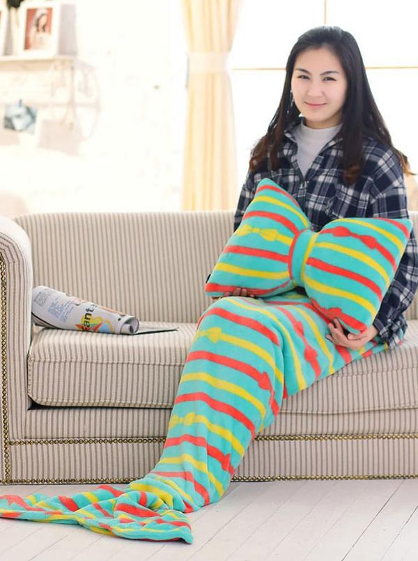 Soft Strips Green Sofa Leisure Blanket Mermaid Tail Blanket
