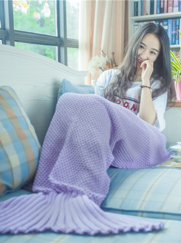 Cute Purple / Pink Cotton Mermaid Tail Blanket Knitted Sofa Blanket фото