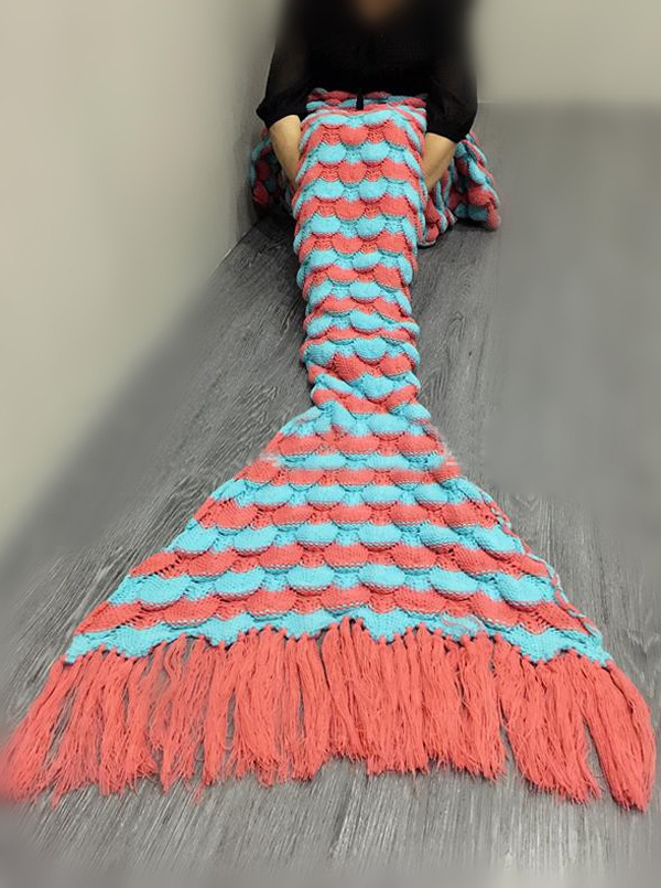 Fashion Red-Blue Kniting Mermaid Blanket Sleeping Bag with Tassel