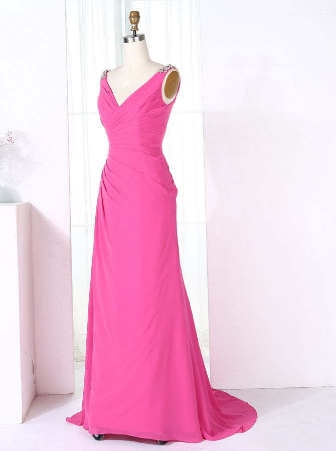 Sheath V-Neck Sweep Train Fuchsia Chiffon Bridesmaid Dress with Beading фото