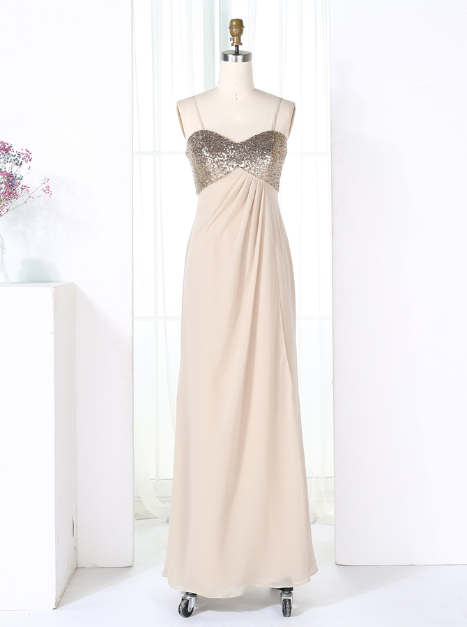 Sheath Spaghetti Straps Pearl Pink Empire Chiffon Bridesmaid Dress with Sequins фото