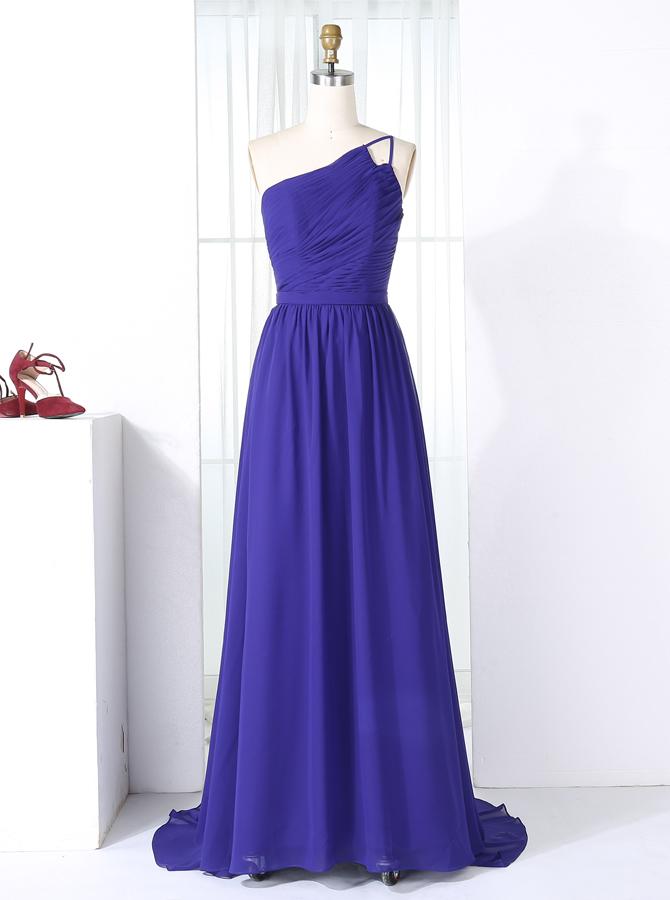 A-Line One Shoulder Sweep Train Royal Blue Chiffon Bridesmaid Dress