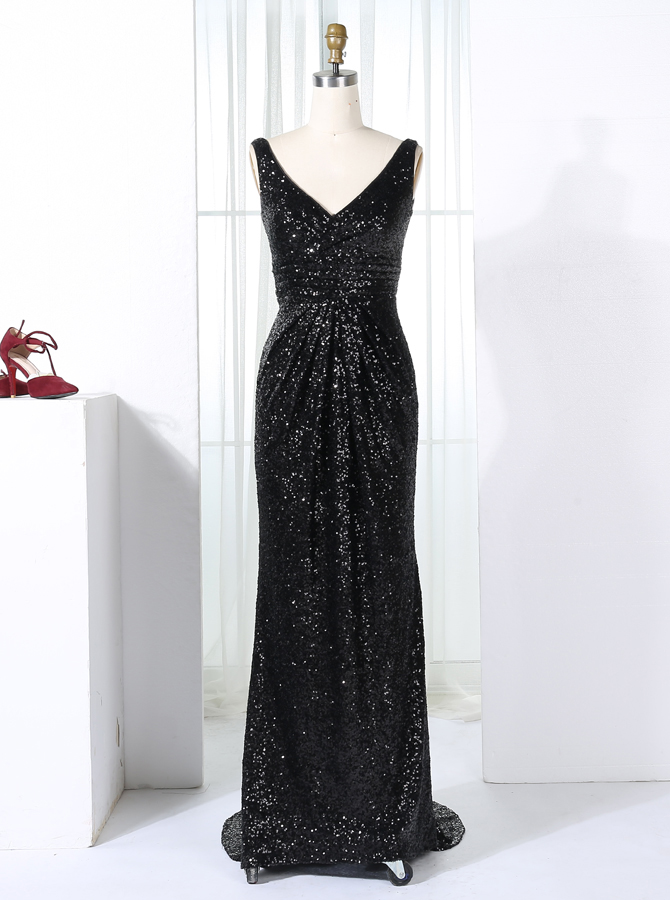 Sheath V-Neck Sweep Train Black Ruched Sequined Bridesmaid Dress