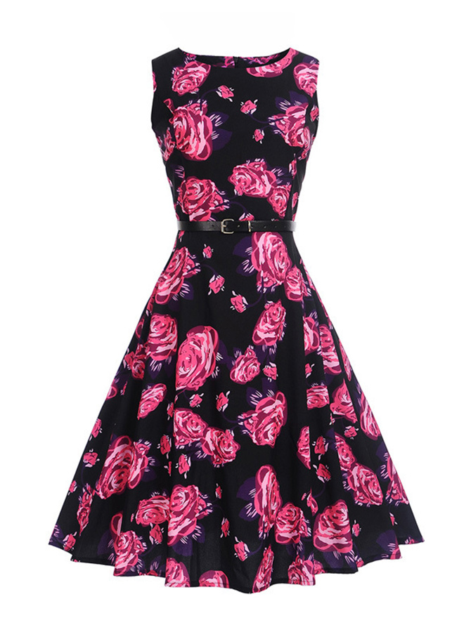 Vintage Floral A-Line Round Neck Multi Color Swing Dress фото
