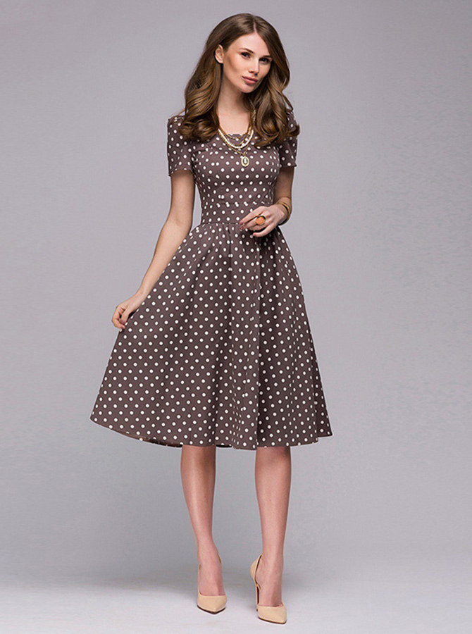 Polka Dots Round Neck Short Sleeves Brown Vintage Dress фото