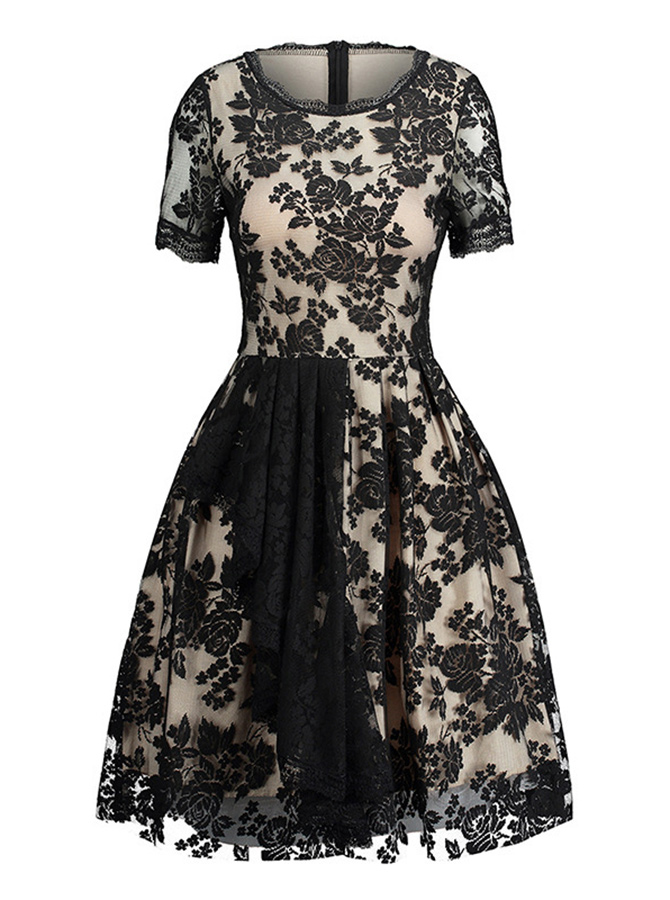 Lace Round Neck Short Sleeves Vintage Black Lace Dress фото