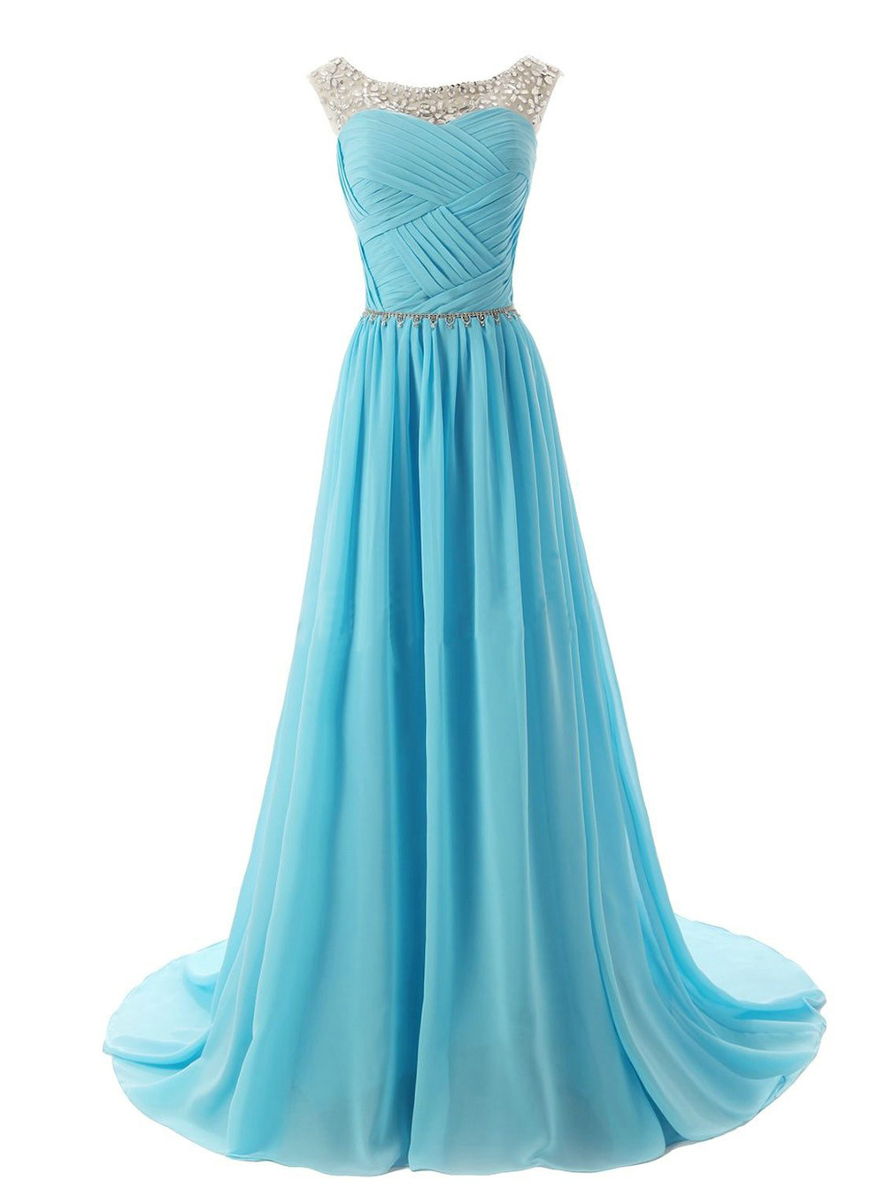 A-Line Scoop Sweep Train Chiffon Blue Bridesmaid/Prom Dress With Beading