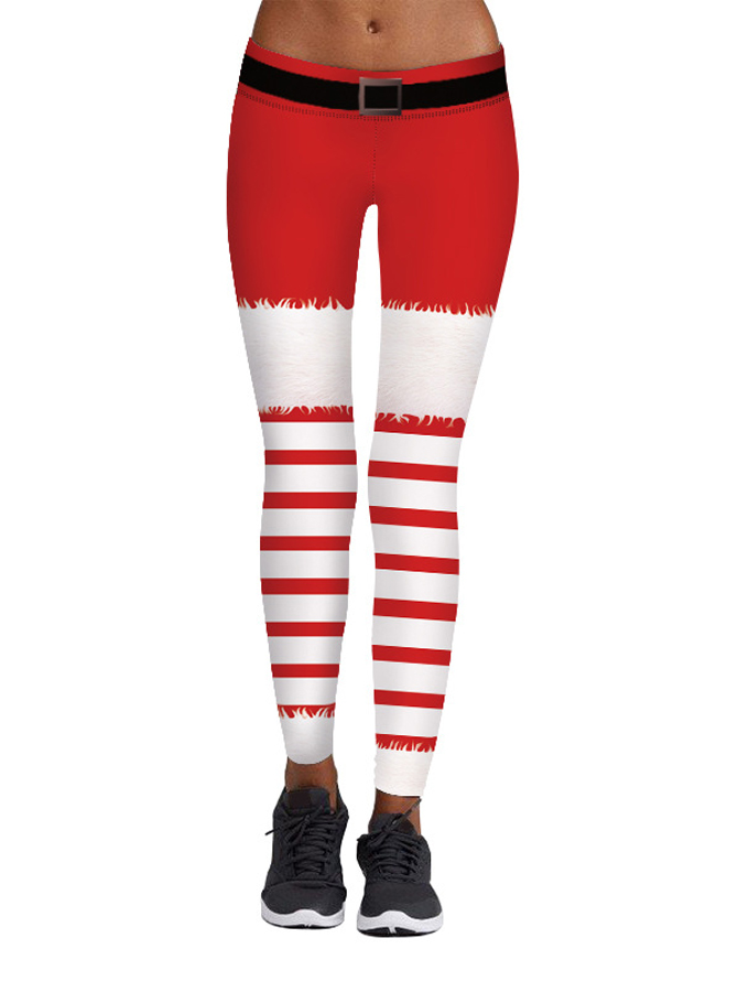 Red Stretch Full Length 3D Printed Striped Christmas Legging фото