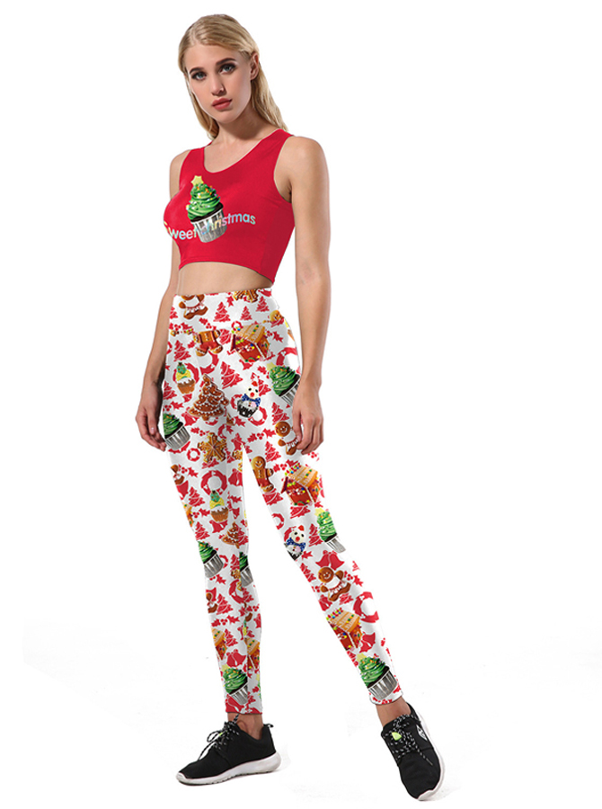 Red 3D Printed Gingerbread Christmas Women's Spandex Legging Set
