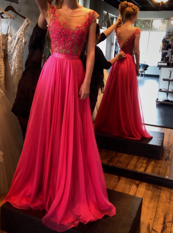 Hot-Selling Hot Pink A-Line Floor Length Sash Backless Scoop Chiffon Prom Dress with Lace фото