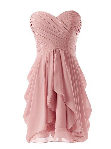 Best-selling Sweetheart A-line Short Ruffle Blush Pink Bridesmaid Dress фото